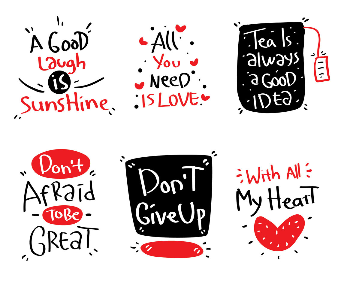 Black And Red Handwriting Collection Vector