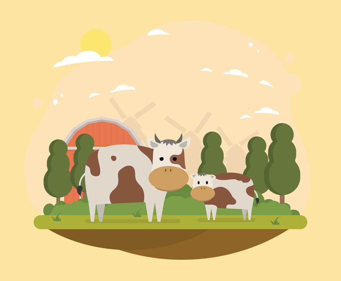 Baby and Young Calf On Farm Landscape illustration