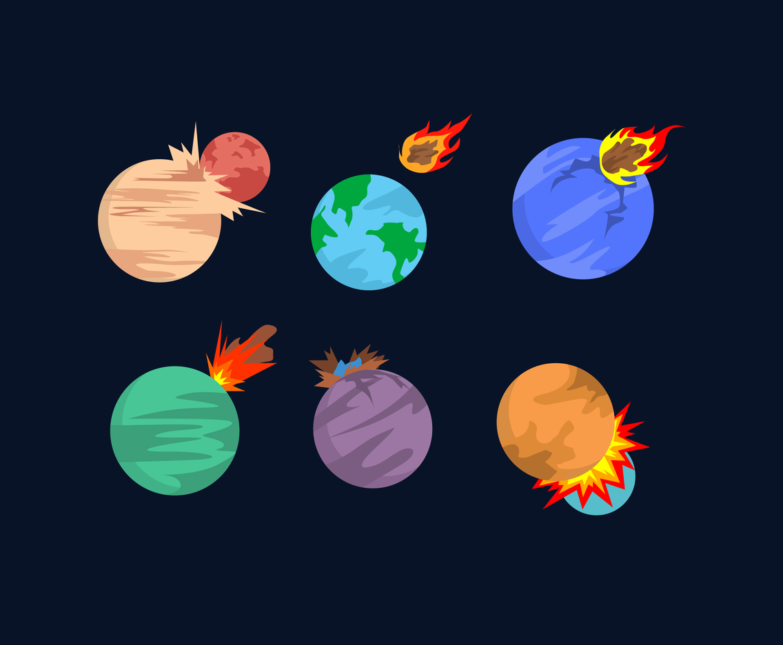 Planet and Meteor Impacts Vector