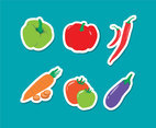 Vegetable Stickers Vector