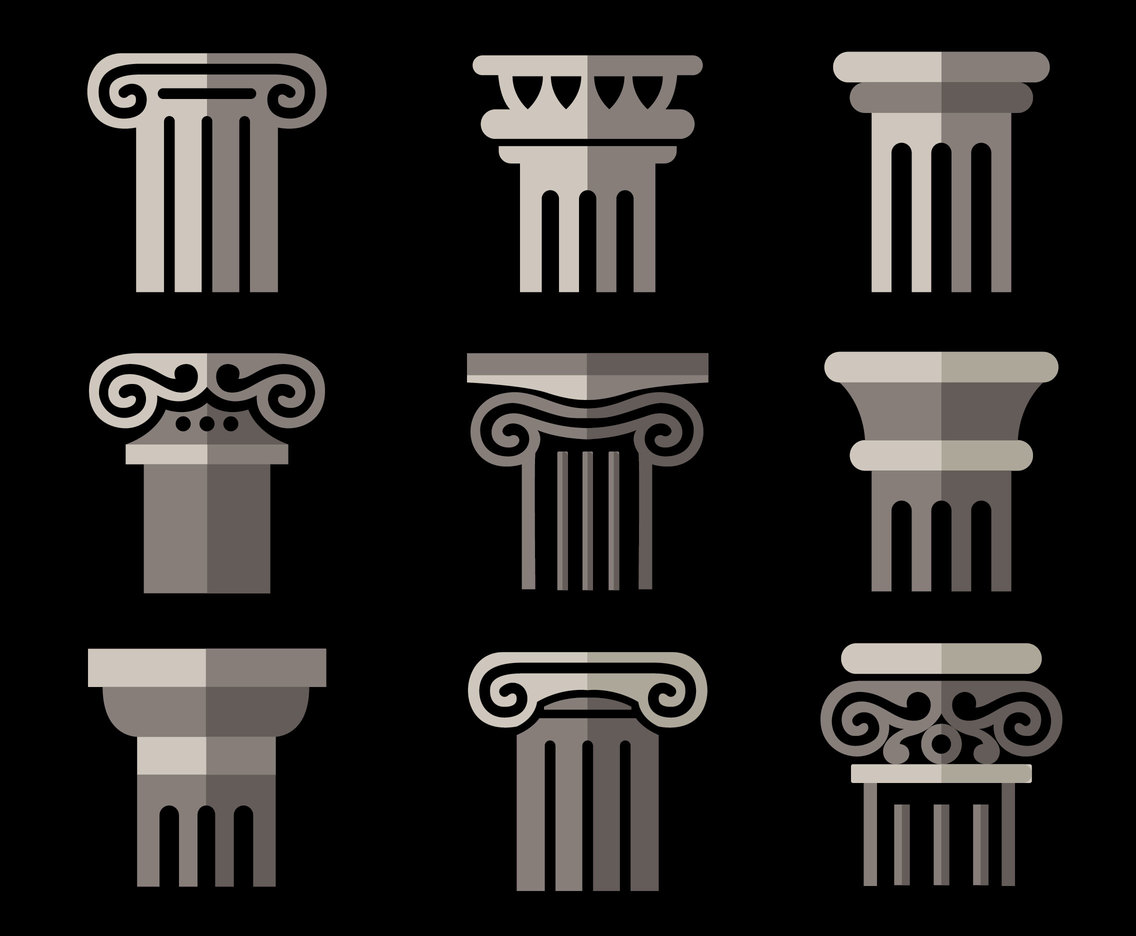 Pillars Collection On Black Vector