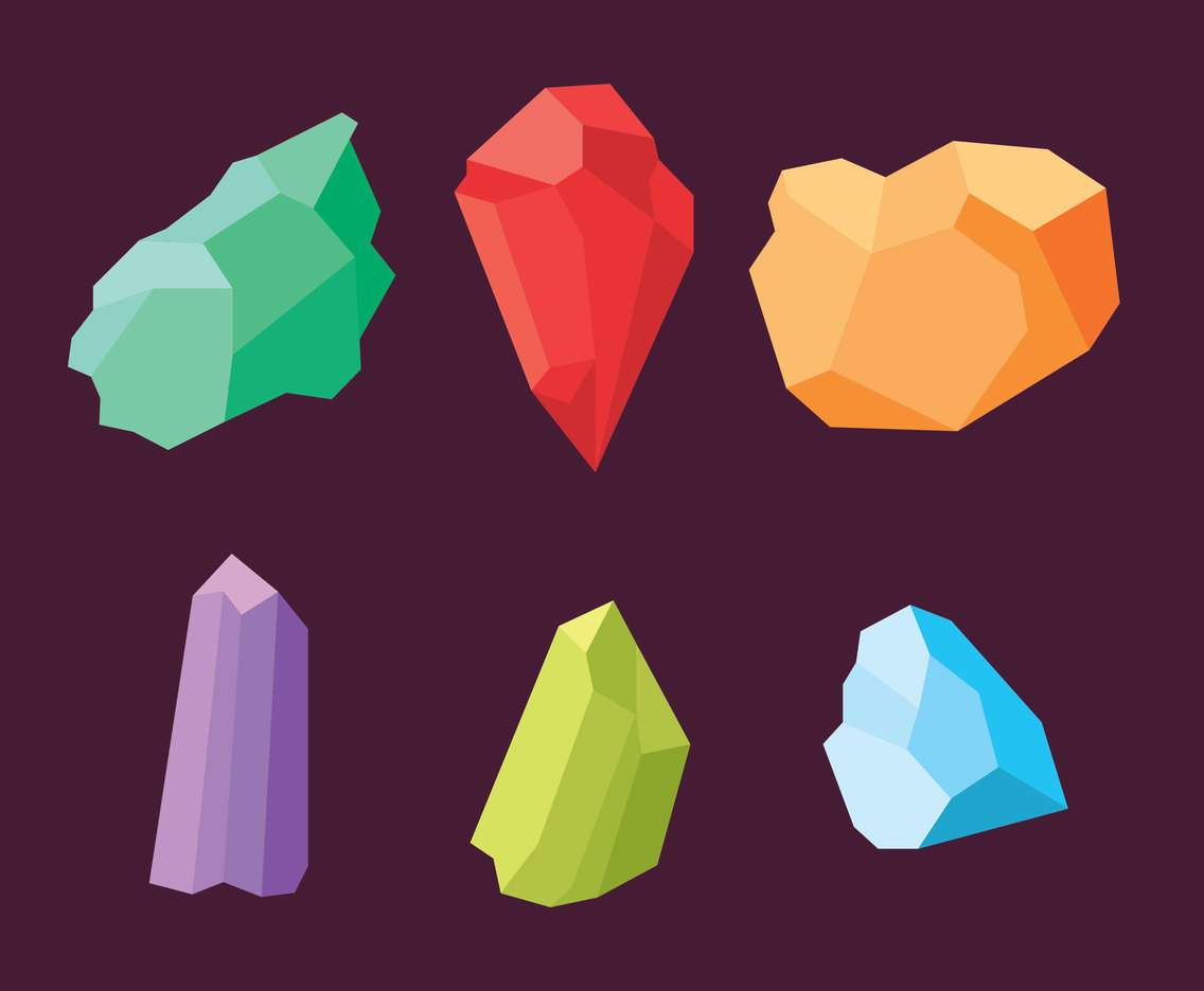 Colored Crystal Mineral Vector