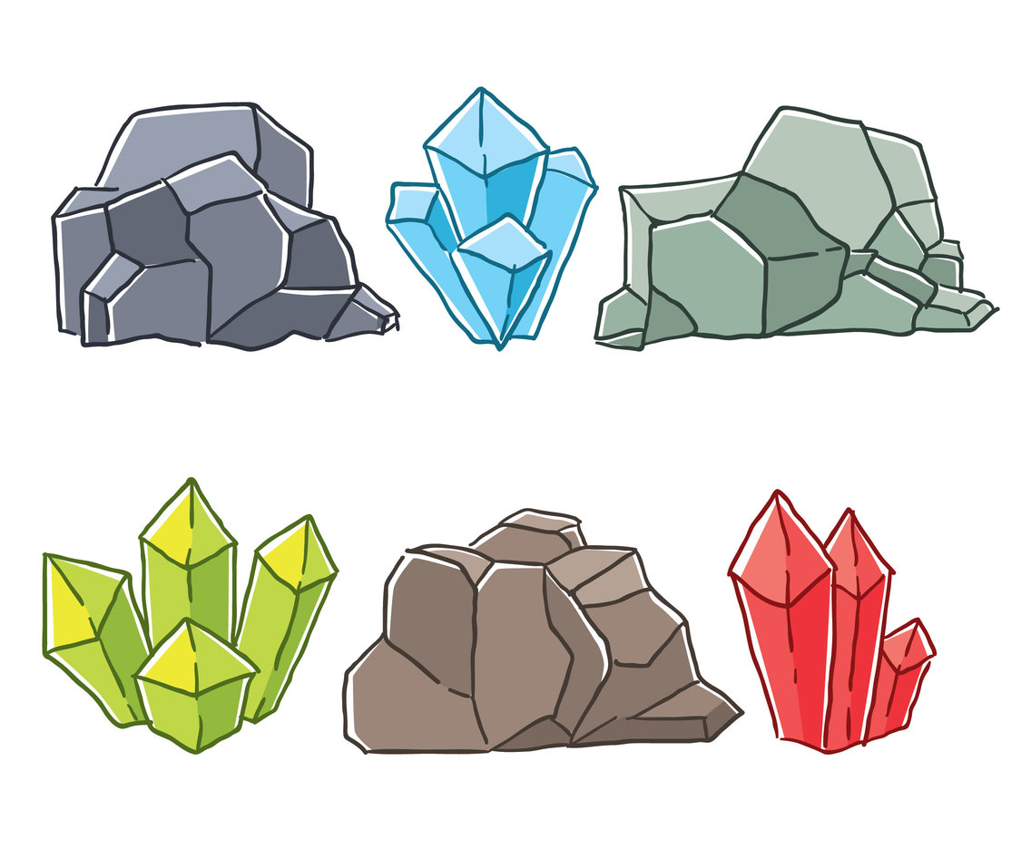 Hand Drawn Mineral Stone Vector