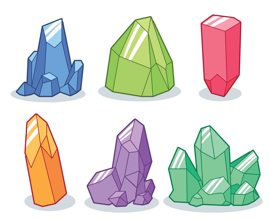 Colorful Mineral Crystal Collection Vector