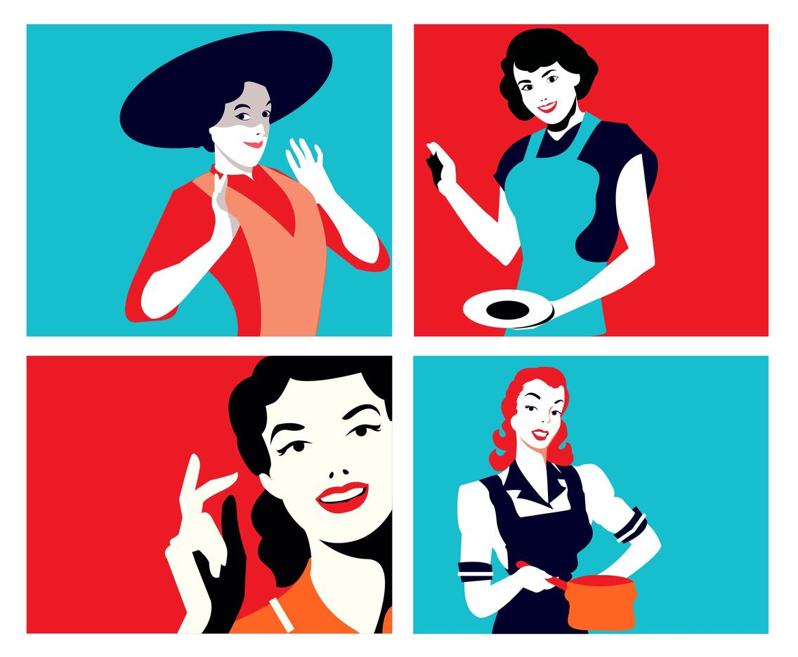 Vintage Housewife Vector Pack
