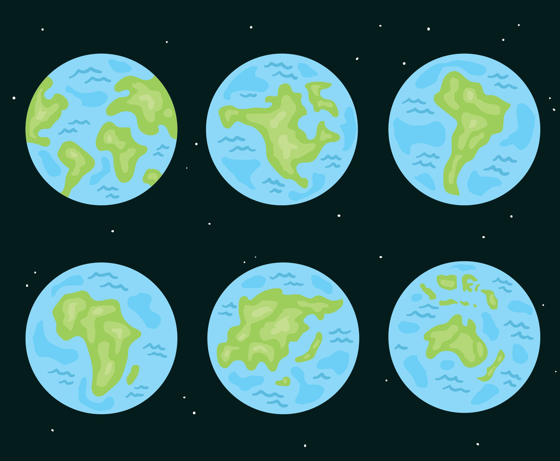 Blue Globe Continent Collection Vector