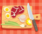 Cutting Board Vegetable And  Meat Vector
