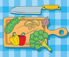 Hand Drawn Cutting Board Vegetable Vector