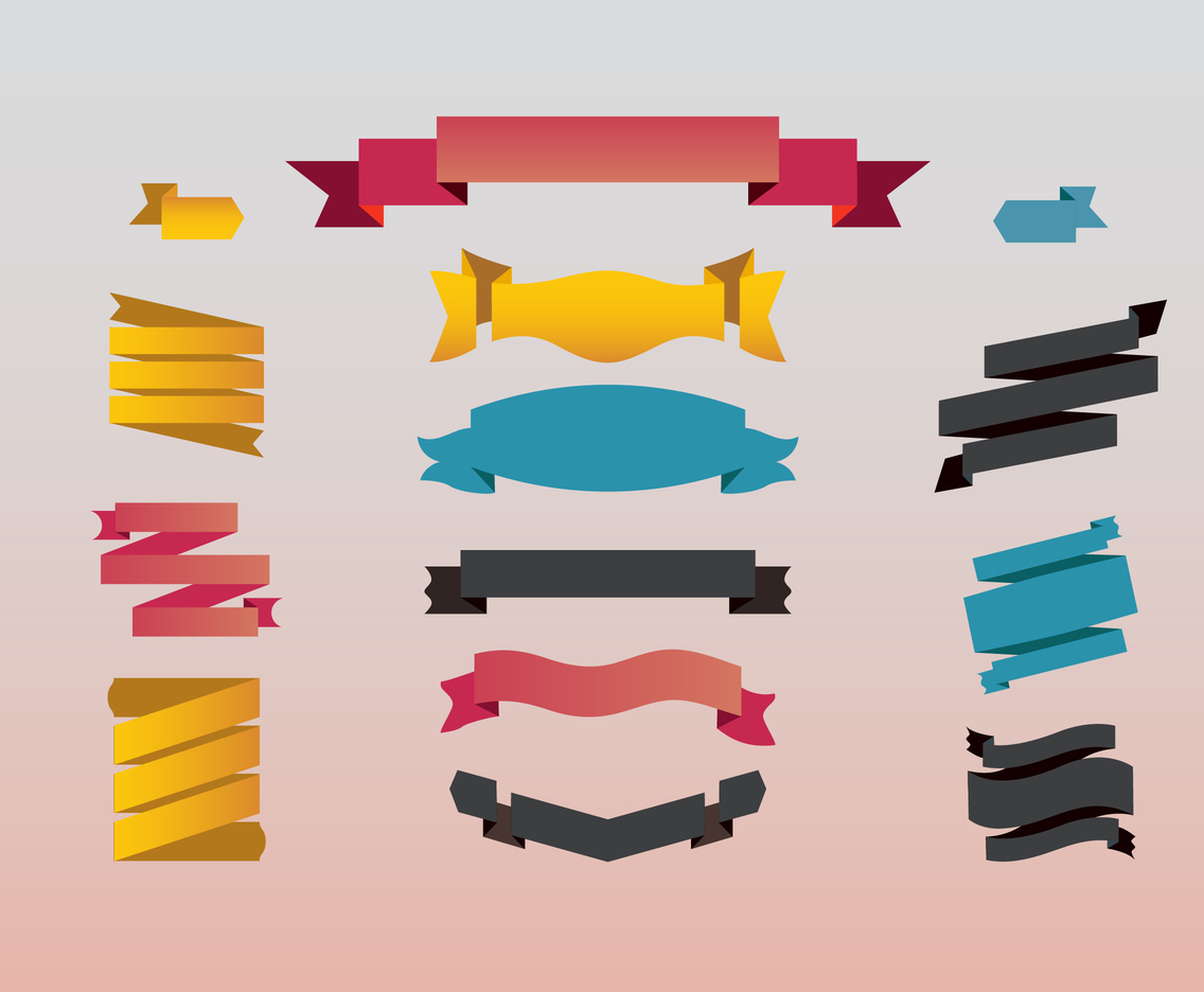 EARMARKED Ribbons vector set