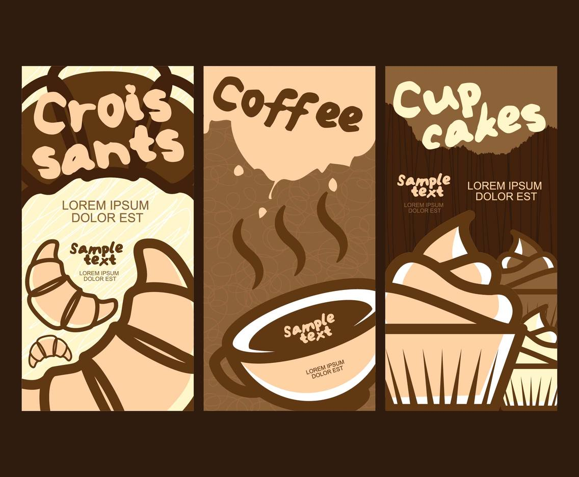 Croissant Coffee Cupcake Flyers Template Vector