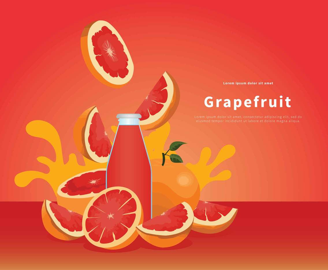 Grapefruit Juice In Bottle Illustration