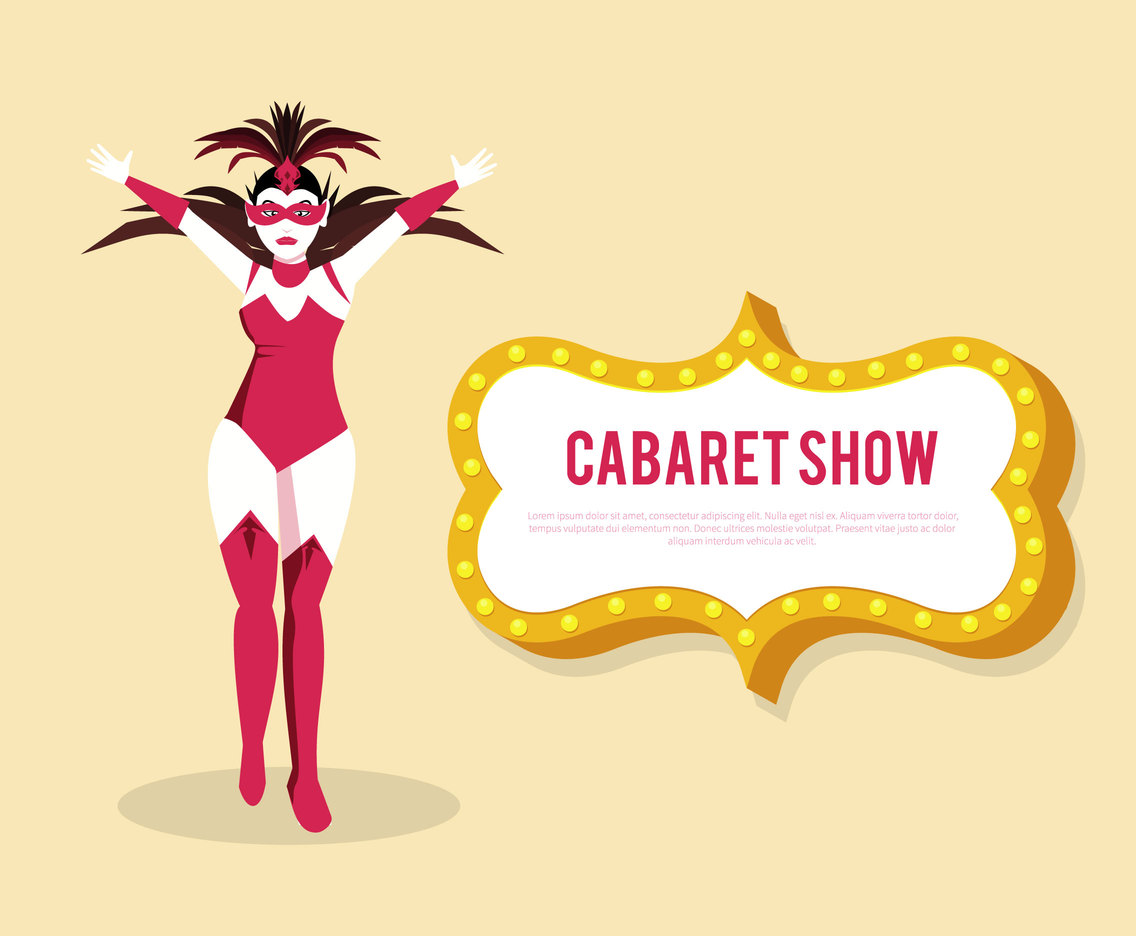 Retro Cabaret Girl Vector