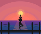 Tree Pose Yoga Posture Vector