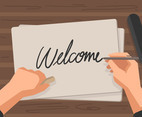 Welcome Handwriting Vector