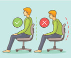Wrong And Right Sitting Posture Vector