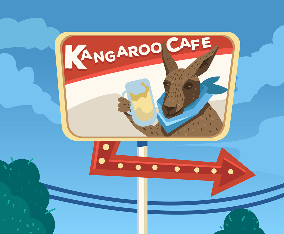 Kangaroo Cafe Vector