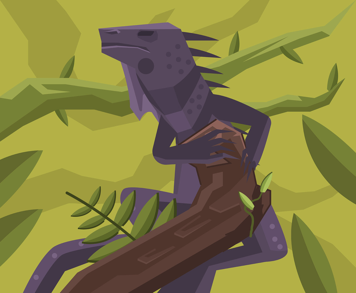 Purple Iguana Vector