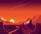 Sunset Background and Canyon Vector