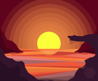 Sunset Background and Sea Vector