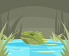 Swimming Iguana Vector
