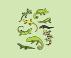 Set Of Outlined Reptiles