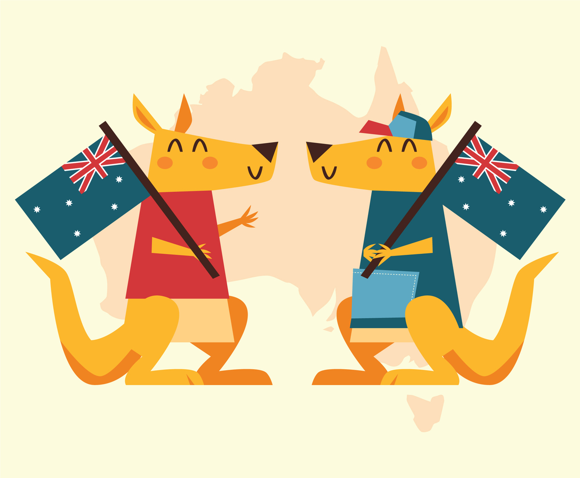 Two Kangaroo Holding Flag