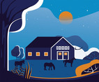 Ranch at Night Vector Design