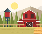 Ranch with Silo Vector