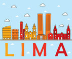 Colored Lima Skyline Vector