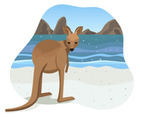 Kangaroo on Beach Vector