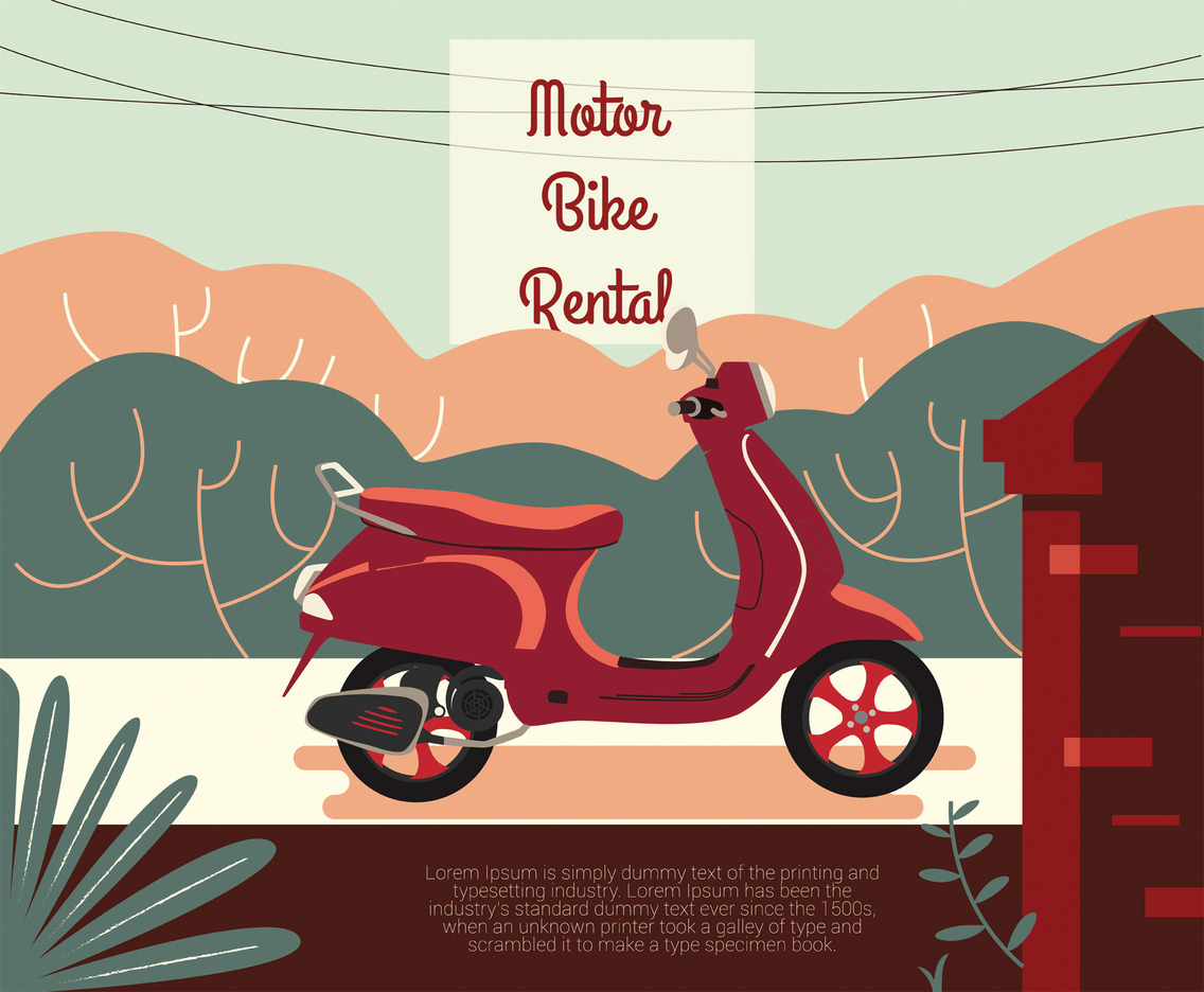 Motorbike Rental Vector Design