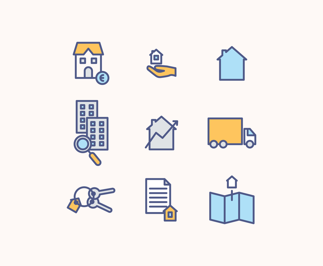 Set Of Icons About Renting A House