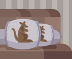 Pillow Cover Kangaroo Vector