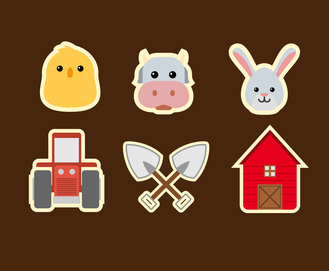 Cute Ranch Icons Vector