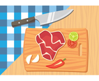 Meat on Chop Board Illustration