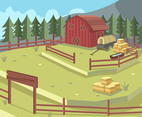 Ranch with Hay Wagon Vector
