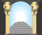 Pillars and Stairs Vector
