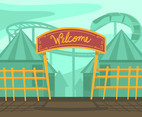 Amusement Park Entrance Vector