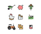 Outlined Icons Related To a Ranch