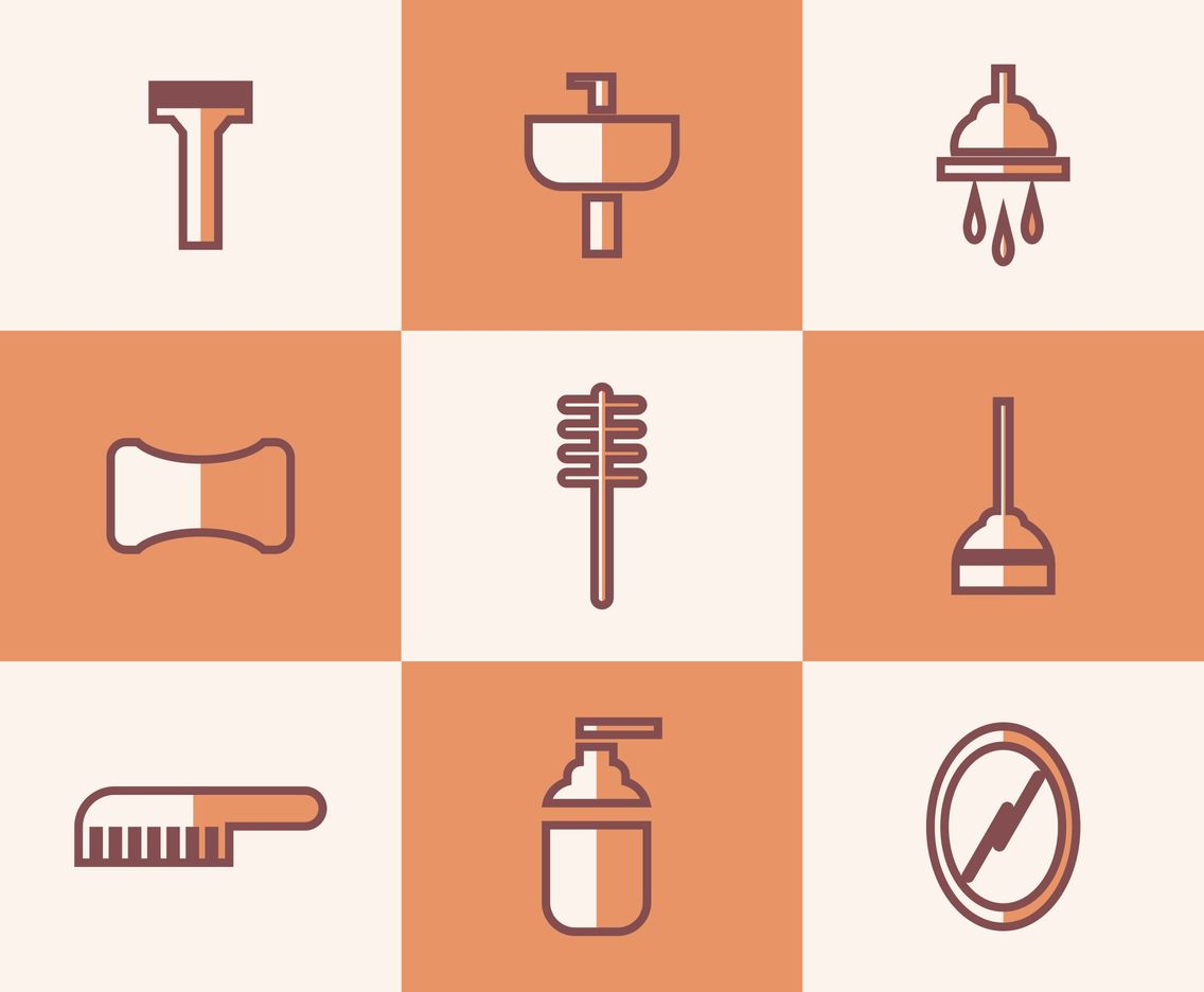 Orange Bathrobe and Other Tools Vector