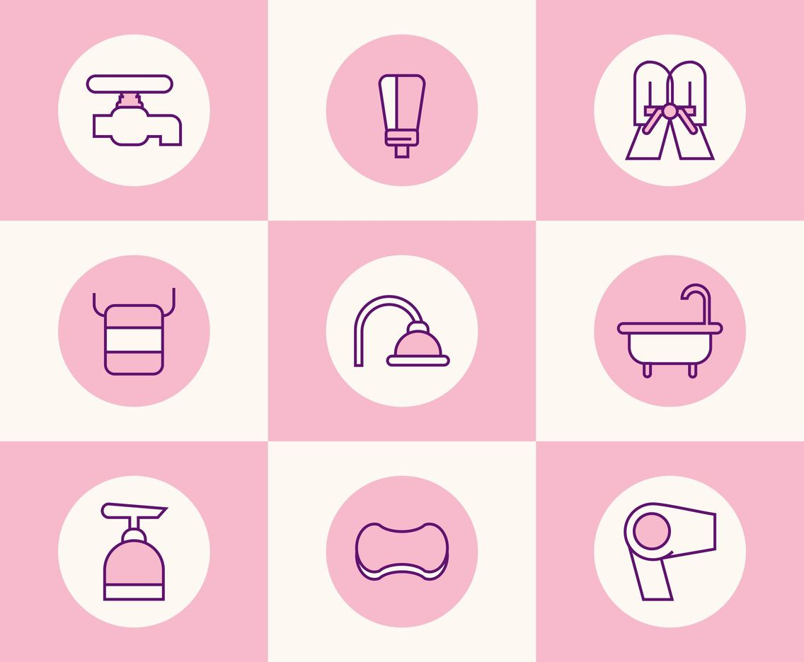 Pink Bathrobe and Showering Tools Vector