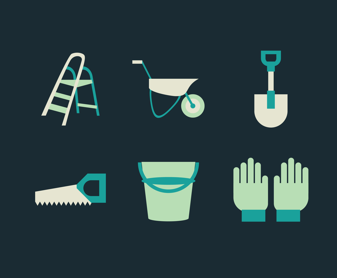Ladder and Gardening Tools Vector