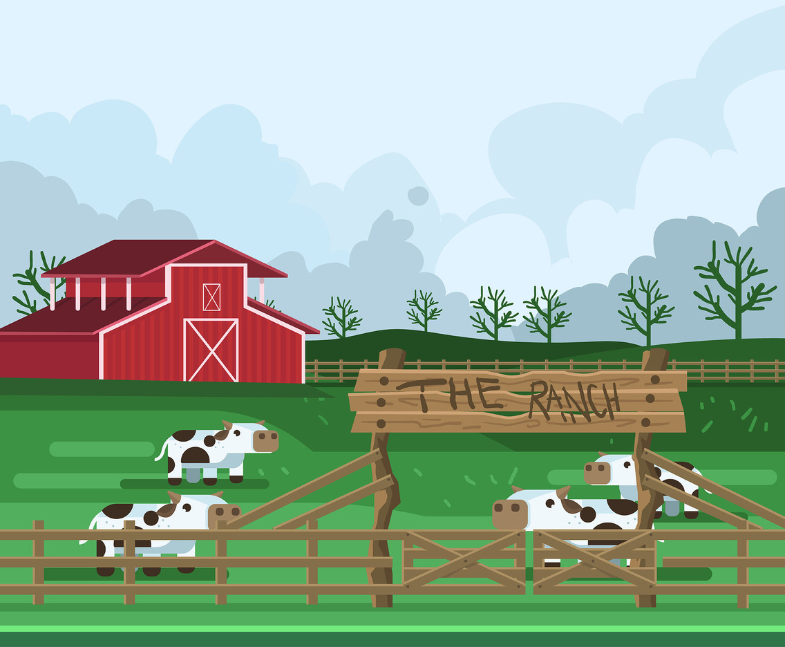 Cattle Ranch Vector