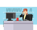 Secretary On The Phone Vector