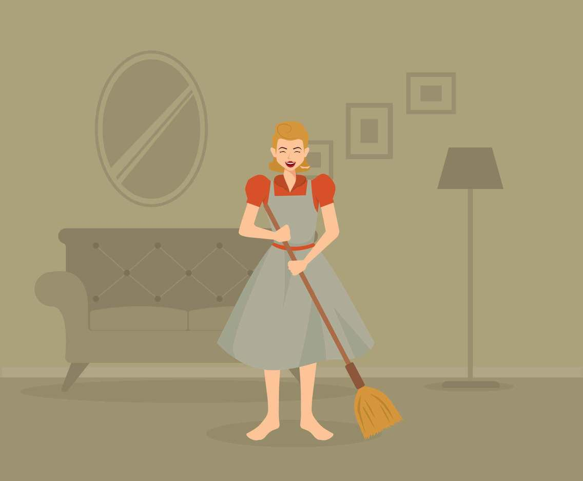 Vintage Housewife in Living Room Illustration