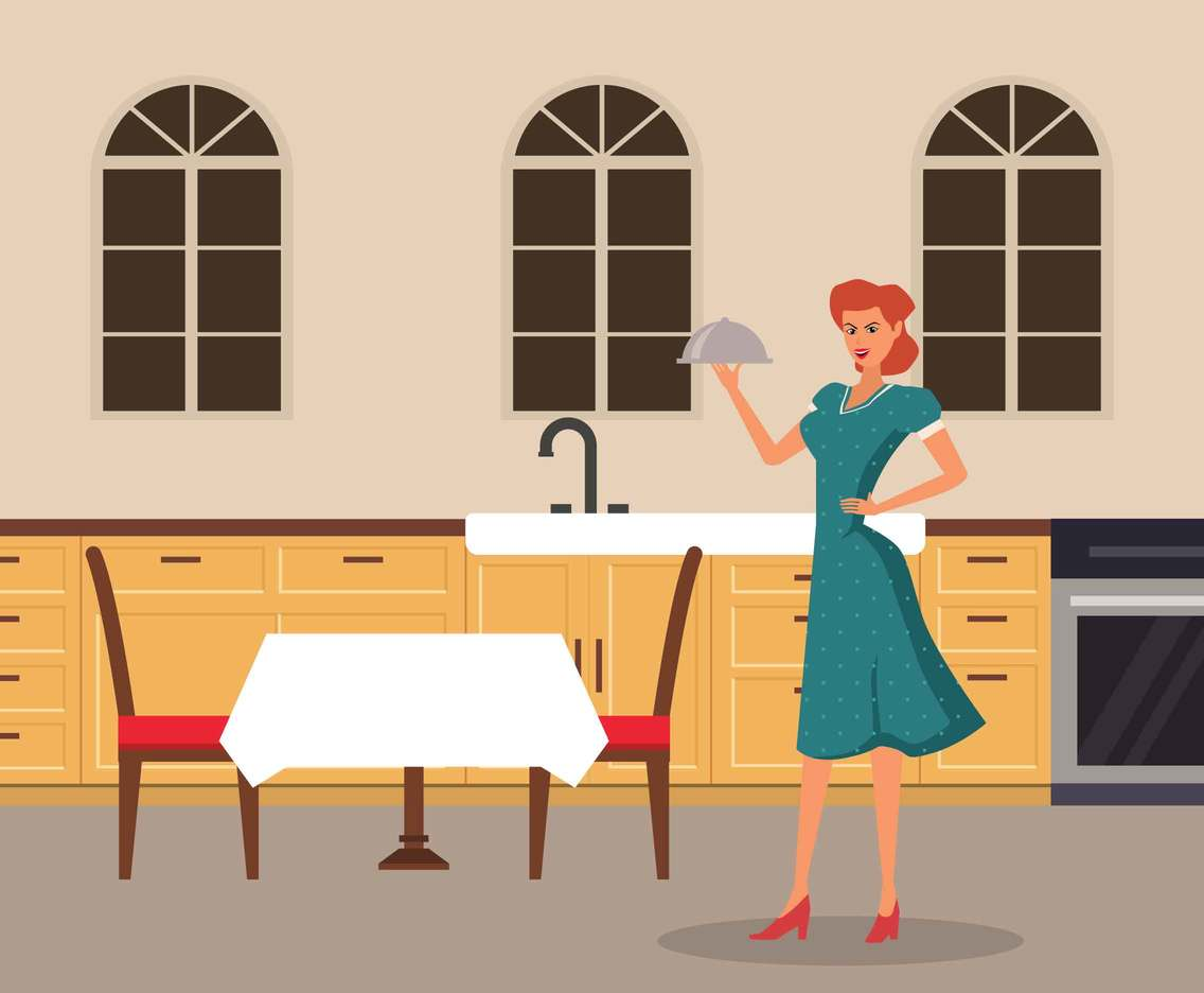 Vintage Housewife Prepare For Dining Illustration