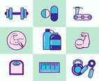 Fitness Icon Collection Vector