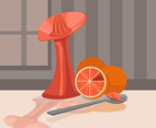 Grapefruit on Table Vector