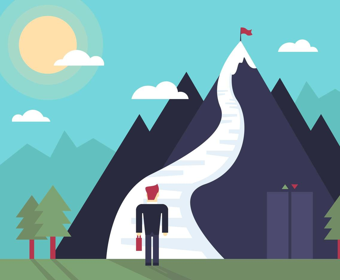 Stairway Goal Mountain Landscape Flat Illustration Vector