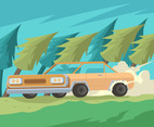 Sedan in Woods Vector